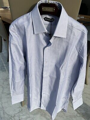 Tom Ford Fine Blue Check Slim Fit Shirt Size 15 / 38. BNWT RRP £450