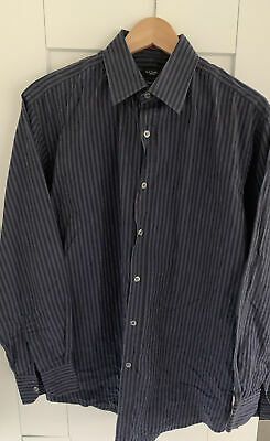 Paul Smith London Mens Shirt Black & Dark Grey Stripes / classic fit / 16 inch