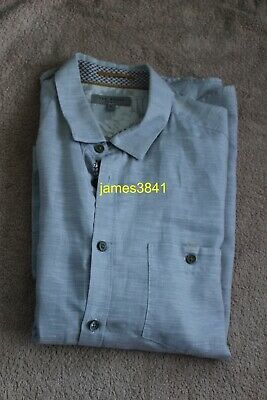 Mens MYSONG Short Sleeve Blue Striped Cotton Linen Shirt Ted Baker Large Sz 4