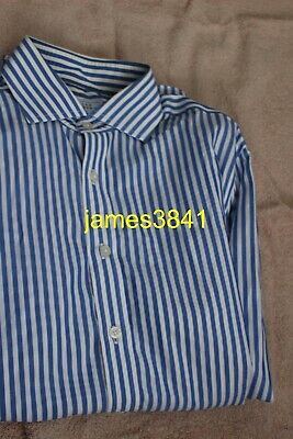 "Mens Blue & White Striped Long Sleeved Work Shirt Charles Tyrwhitt 15.5"" Slim"