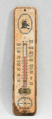 Vintage Advertising Thermometer, Mid Century Retro, Wood, Nautical