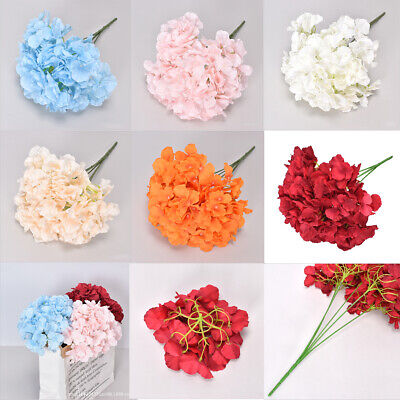 5 Heads Artificial Hydrangea Fake Flower Bouquet Wedding Party Home Garden Decor