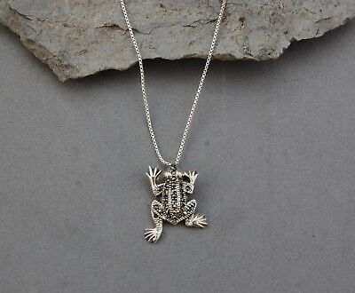 """Frog Marcasite Sterling Silver Pendant 1"""" x 3/4"""" on 18"""" Box Chain Necklace 5.23g"""