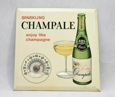 Vintage Advertising Thermometer, Sparkling Champale, Tan