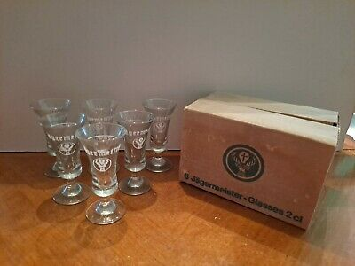 6 Jagermeister Clear Footed Shot Glasses With White Stag Logo New In Box