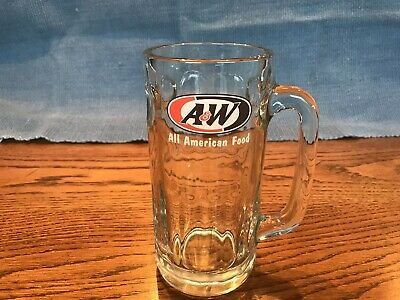 Vintage A&W Root Beer Glass Mug LARGE  20oz 7in TALL Heavy Clear Glass Excellent