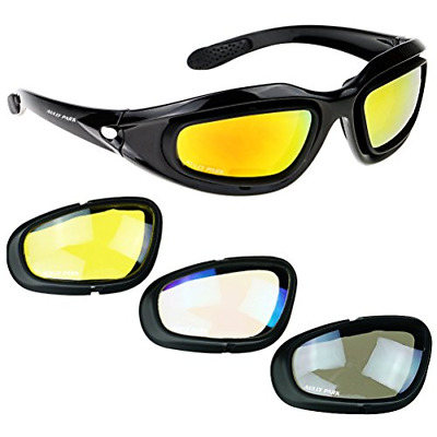 AULLY PARK Polarized Motorcycle Riding Glasses Black Frame with 4 Lens Kit for