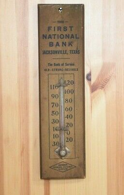 Vintage Advertising Thermometer, First National Bank, Wood