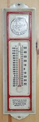 Vintage Advertising Thermometer, Chireno State Bank, Texas, Metal