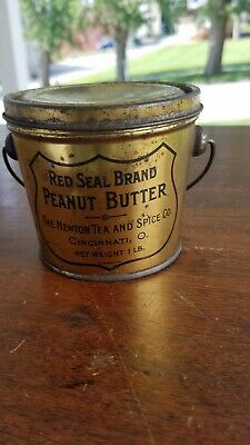 Vintage Red Seal Brand Peanut Butter 1 Pound Tin Can Cincinnati Ohio