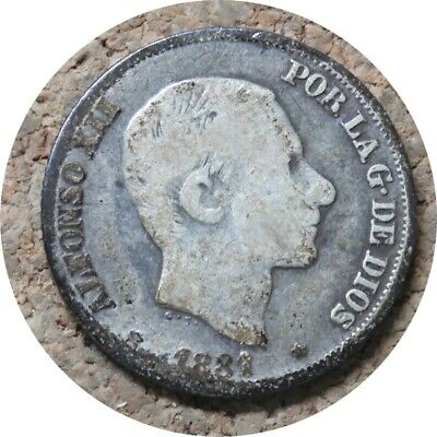 elf  Philippines Spanish 10 Centimos 1881  King Alfonso XII  Silver