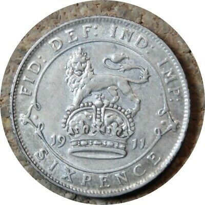 elf Great Britain 6 Pence 1911  George V  Silver