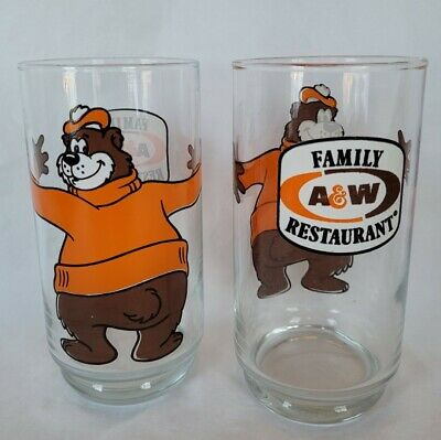 Vintage A & W Family Restaurant Rooty Bear Root Beer Glasses Set Of 2 1970's