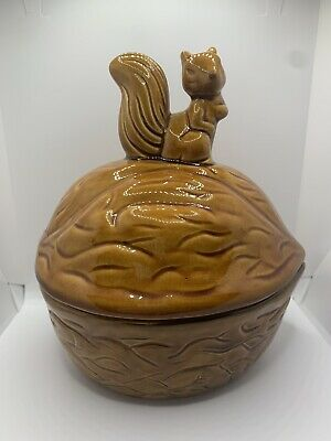 Vintage Ceramic Lidded Nut Candy Dish Walnut Shaped With Squirrel On Top