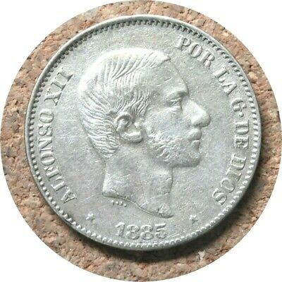 elf Philippines Spanish 50 Centimos 1885 King Alfonso XII Silver