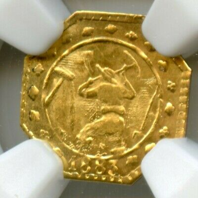 """1883 Gold Miner with Pick, """"H"""" / California Fractional Gold / NGC MS64 POP6 R7"""