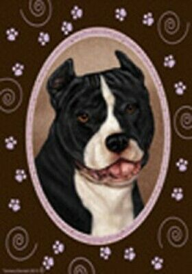 Paws House Flag - Black and White American Pit Bull Terrier 17405