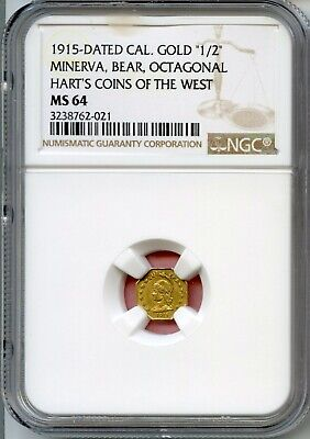 1915 California Gold 1/2 Minerva / Hart's Coins of the West / NGC MS64 CMOH-1 R6
