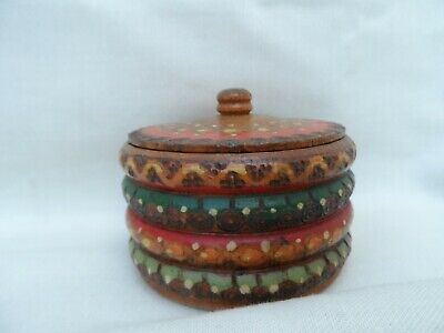 Beautiful vintage decorative treen wooden hand carved/painted Trinket box rare