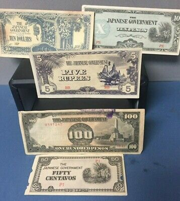 Lot of 5 WWII Japanese Government Occupation Money Assorted Denomination Notes
