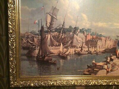 19th-20th Century, Scenic Docked Boats,  Large Ornate Painting-Framed Gold Tone