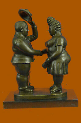 Fernando Botero Bronze Sculpture Entitled Courting Hot Cast Marble Figuine Gift