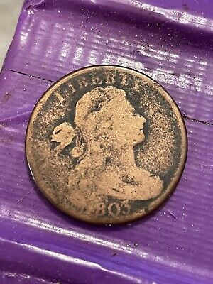 Antique 1803 One Cent Penny Draped Bust Liberty United States Copper Coin