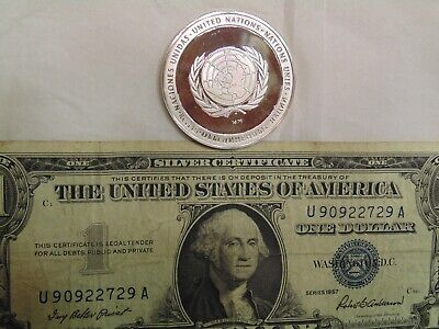 1975 United Nations - 92.5% Silver Proof Coin and 1957 Silver Certificate Dollar