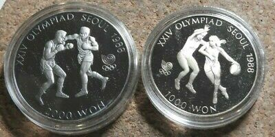 elf South Korea 2 pc 1986  Proof Set Olympics Boxing Basketball with case