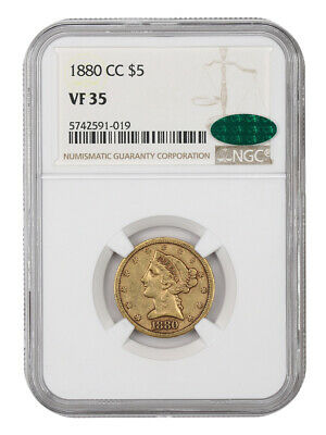 1880-CC $5 NGC/CAC VF35 - Better Carson City Issue - Better Carson City Issue
