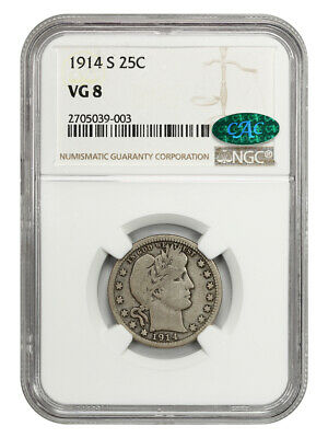 1914-S 25c NGC/CAC VG-08 - Scarce Date - Barber Quarter - Scarce Date