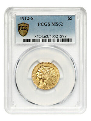 1912-S $5 PCGS MS62 - Semi-Key Date - Indian Half Eagle - Gold Coin