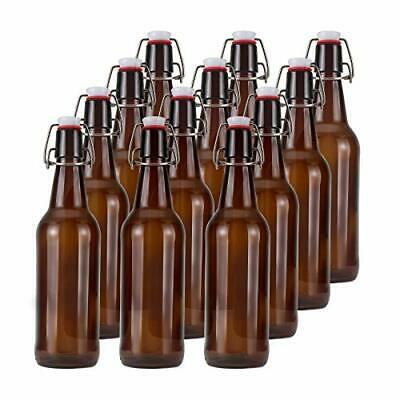 16oz Glass Beer Bottles with Flip Caps for Home Brewing  Amber Swing Top Glass B