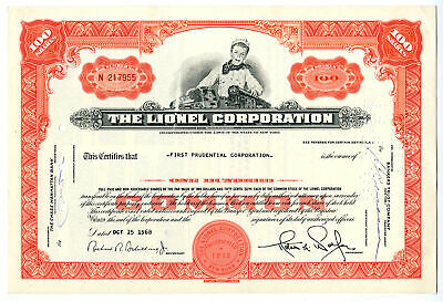 NY. Lionel Corp., 1968 100 Shares I/U Stock Certificate, VF SBN
