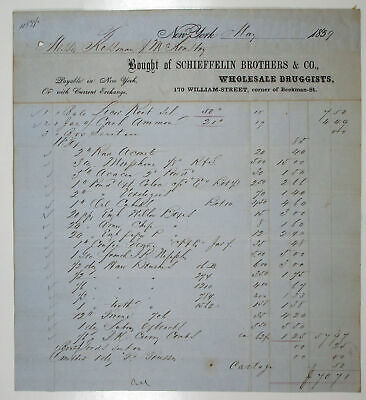 NY. Schieffelin Brothers & Co., 1859 Issued Bill for Goods, VF