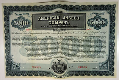 NY. American Linseed Co., 1900s $5000 Specimen 5% Gold Note, VF ABN Dark Blue