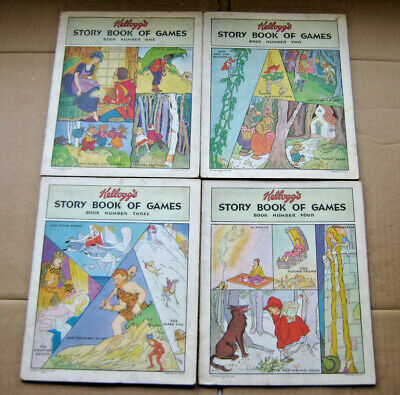 1931 Kellogg's Story Book Of Games 4 Book Set 1 2 3 & 4 With Spinners