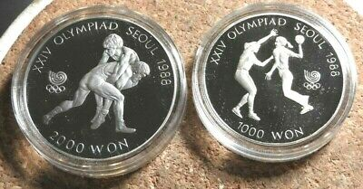 elf South Korea 2 pc 1987  Proof Set Olympics Wrestling Handball w/case