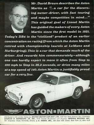 For the discerning owner-driver w/ fast touring in mind Aston-Martin DB4 ad 1962