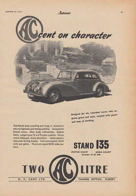 Accent on character - AC Two Litre ad 1950