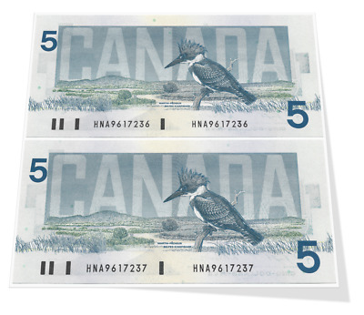 Bank of Canada Birds Series Two Sequential 5 Dollar Year 1986 Banknotes Gem UNC