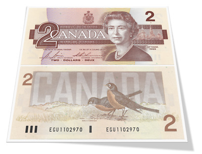 Bank of Canada Birds Series Ten Sequential 2 Dollar Year 1986 Banknotes Gem UNC