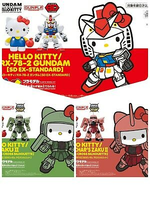 BANDAI Hello Kitty × RX-78-2 Gundam,Char's Exclusive Zaku II, in a set of three