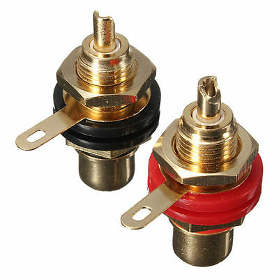 2Pcs Gold Plated RCA Panel Mount Chassis Socket Phono Female Connector Set G3EJQ