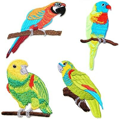 ID 0517 Parrot On Branch Patch Pet Bird Talking Embroidered Iron On Applique