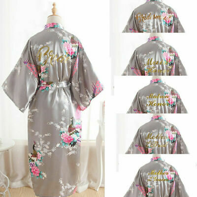 UK Satin Personalized Peacock Wedding Robe Bridesmaid Bride Mother Dressing Gown