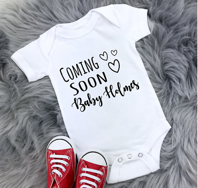 Personalised Baby Grow Babygrow Expecting Ajouter Nom Cadeau prochainement annonce