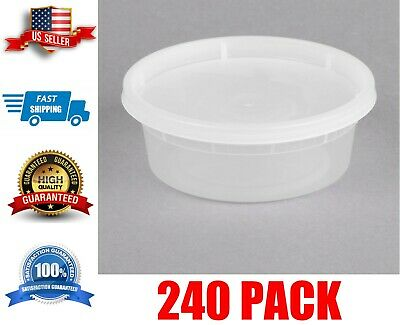 8 Oz Microwavable Contact Clear Round Deli Container and Lid Combo Pack 250 Case for sale online