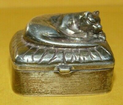 Vintage Silver Cat on a Pillow Pill Box
