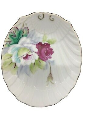 Occupied Japan shell shape porcelain dish with ring trinket 1945-1952